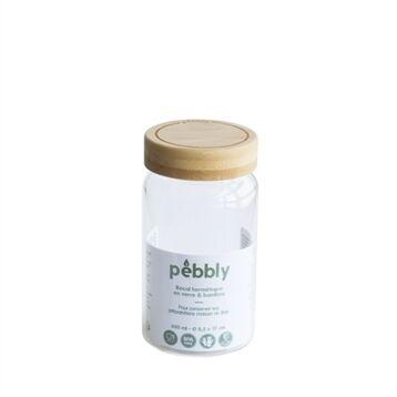 Pebbly Bocal en verre avec couvercle en bambou 650 ml Pebbly