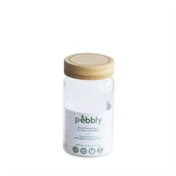 Pebbly Bocal verre avec couvercle bambou 650 ml Pebbly