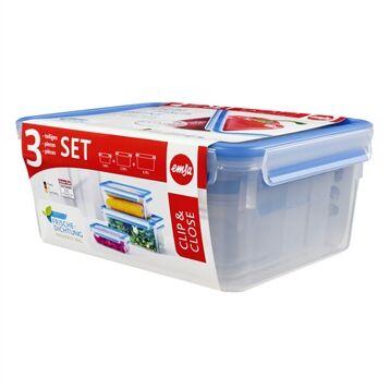 Emsa Set de 3 boîtes rectangulaires Clip & Close bleu 1 2,3 3,7 L Emsa