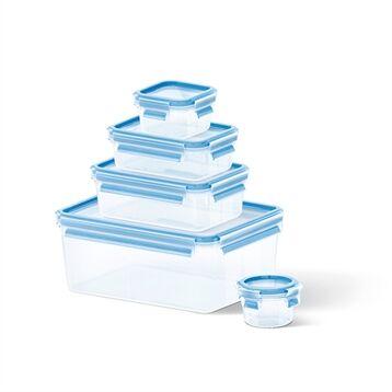 Emsa Set de 5 boîtes rectangulaires Clip & Close bleu Emsa