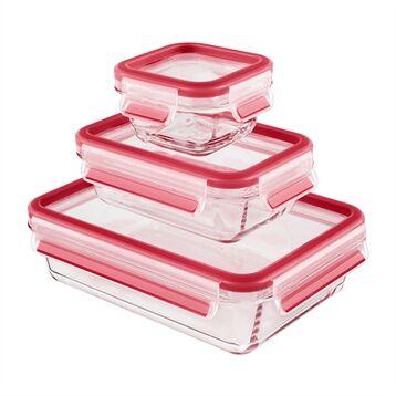 Emsa Set de 3 boîtes en verre Clip & Close 0,2 0,5 1,3 L Emsa