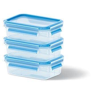 Emsa Set de 3 boîtes Clip & Close bleues 0,55L Emsa
