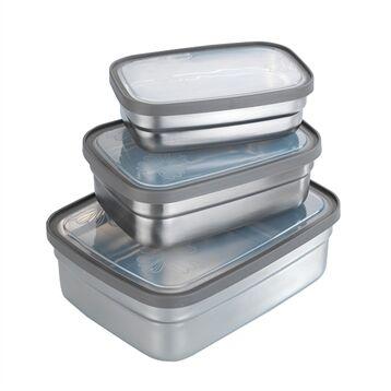 Set de 3 lunch box en inox et couvercles en plastique