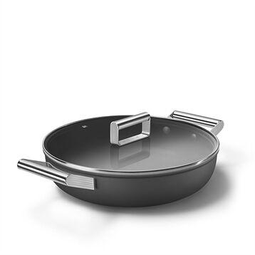 Smeg Sauteuse aluminium antiadhésive 28 cm noir mat avec couvercle en verre trempé Smeg