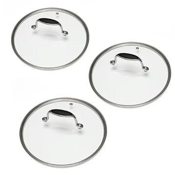 Mathon Lot 3 Couvercles en verre Excell'Inox 16, 18 et 20 cm Mathon