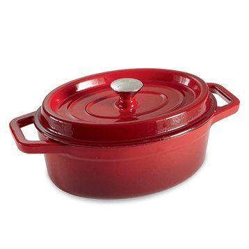 Mathon Cocotte en fonte ovale 29 cm 3,5 L rouge Mathon