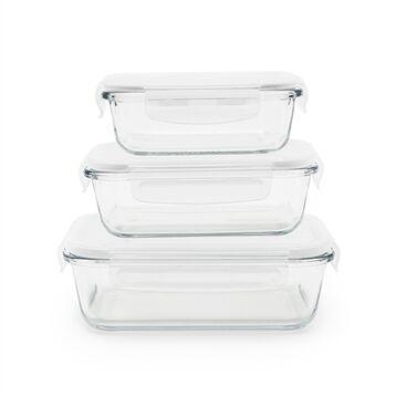 Pebbly 3 boîtes rectangulaires en verre 400, 650 et 1000 ml Pebbly