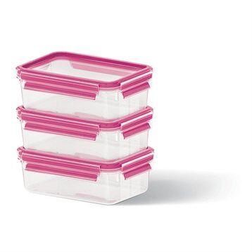 Emsa Set de 3 boîtes Clip & Close framboise 0,55L Emsa