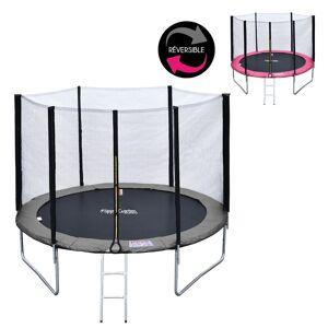 Happy Garden Pack Premium Trampoline 305cm réversible rose / gris ADELAÏDE + filet de protection, échelle, bâche et kit d'ancrage - Publicité