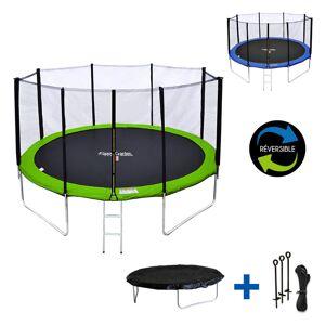 Happy Garden Pack Premium Trampoline 370cm réversible vert / bleu PERTH + filet, échelle, bâche et kit d'ancrage - Publicité