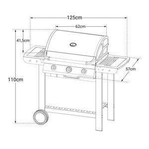 Cook'in Garden - Barbecue au gaz FIESTA 3 - 3 brûleurs avec thermomètre 10,5kW - Publicité