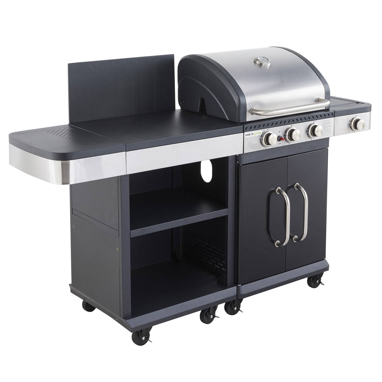 Cook'in Garden - Barbecue au gaz FIDGI 3 avec desserte