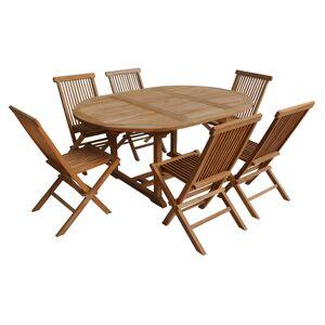 Happy Garden Salon de jardin en teck LOMBOK - table ronde extensible - 6 places - Publicité