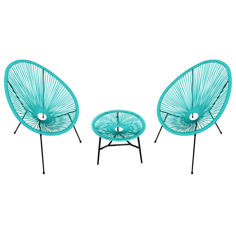 Happy Garden Ensemble de 2 fauteuils œuf + table ACAPULCO aqua