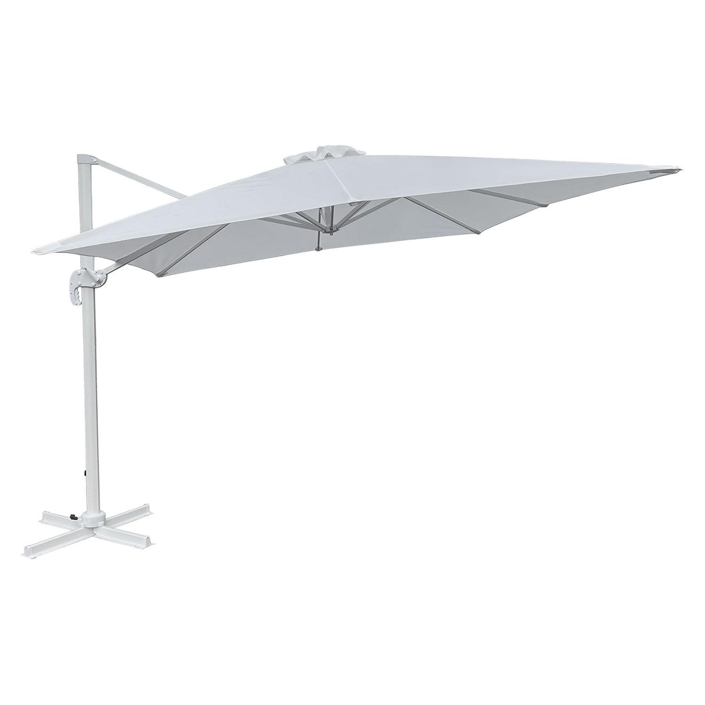 Happy Garden Parasol déporté MOLOKAI rectangulaire 3x4m blanc