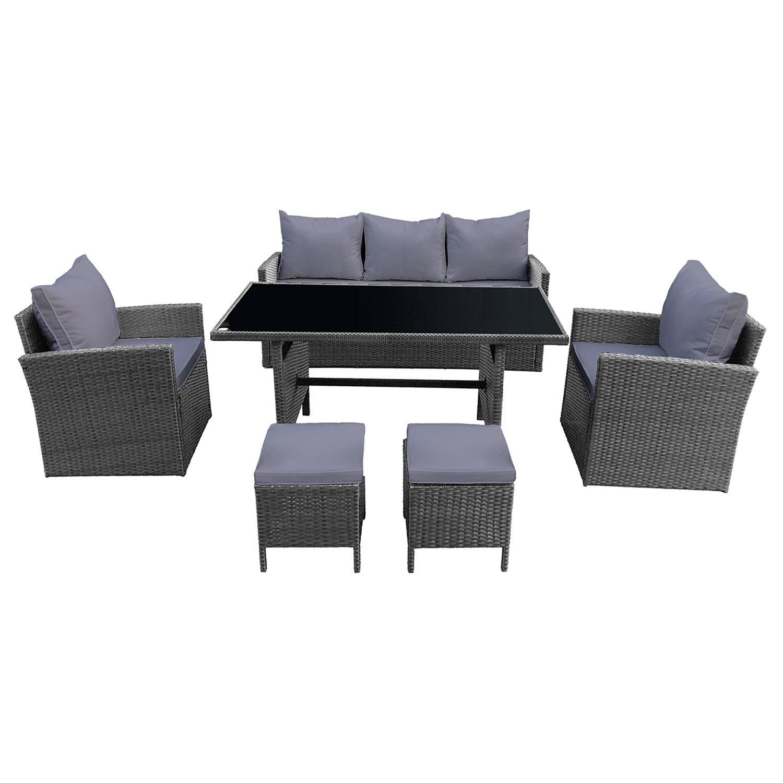 c61284371361b Happy Garden Salon de jardin AJACCIO en résine tressée gris 7 places -  coussins gris