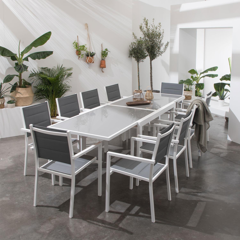 Happy Garden Salon de jardin LAMPEDUSA extensible en textilène gris 10 places - aluminium blanc