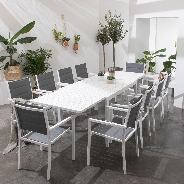 Happy Garden Salon de jardin VENEZIA extensible en textilène gris 10 places - aluminium blanc