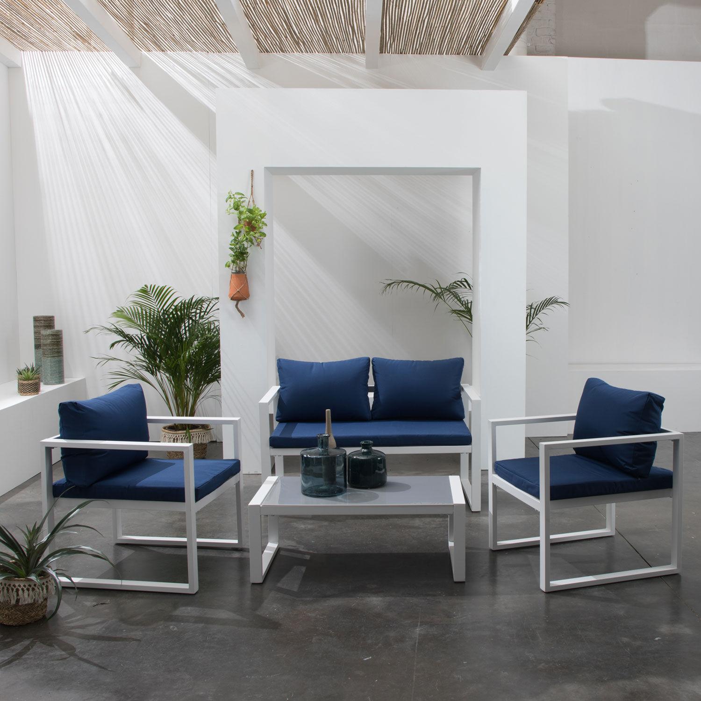 Happy Garden Salon de jardin IBIZA en tissu bleu 4 places - aluminium blanc
