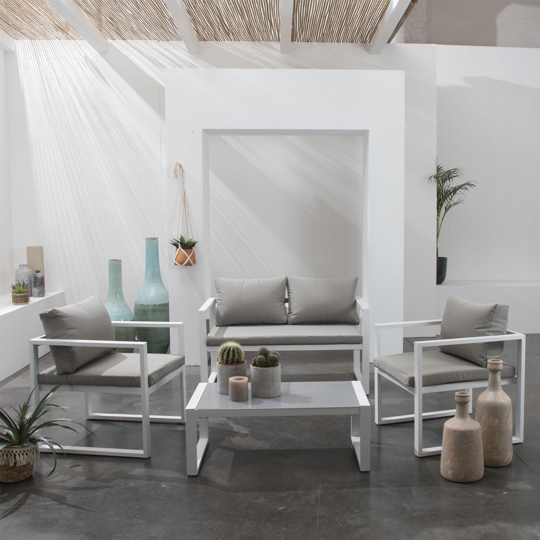 Happy Garden Salon de jardin IBIZA en tissu gris 4 places - aluminium blanc