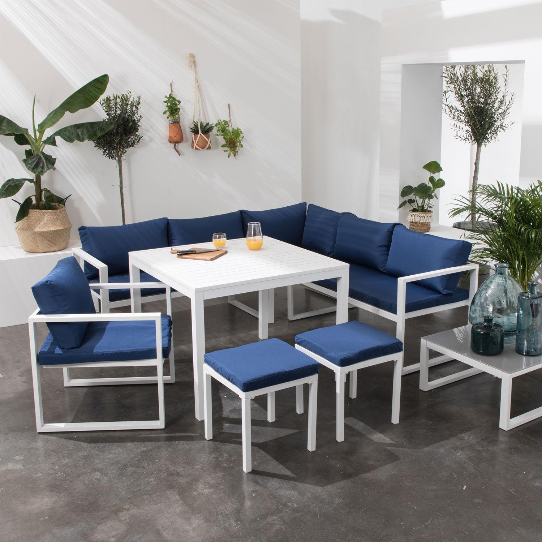 Happy Garden Salon de jardin modulable IBIZA en tissu bleu 7 places - aluminium blanc