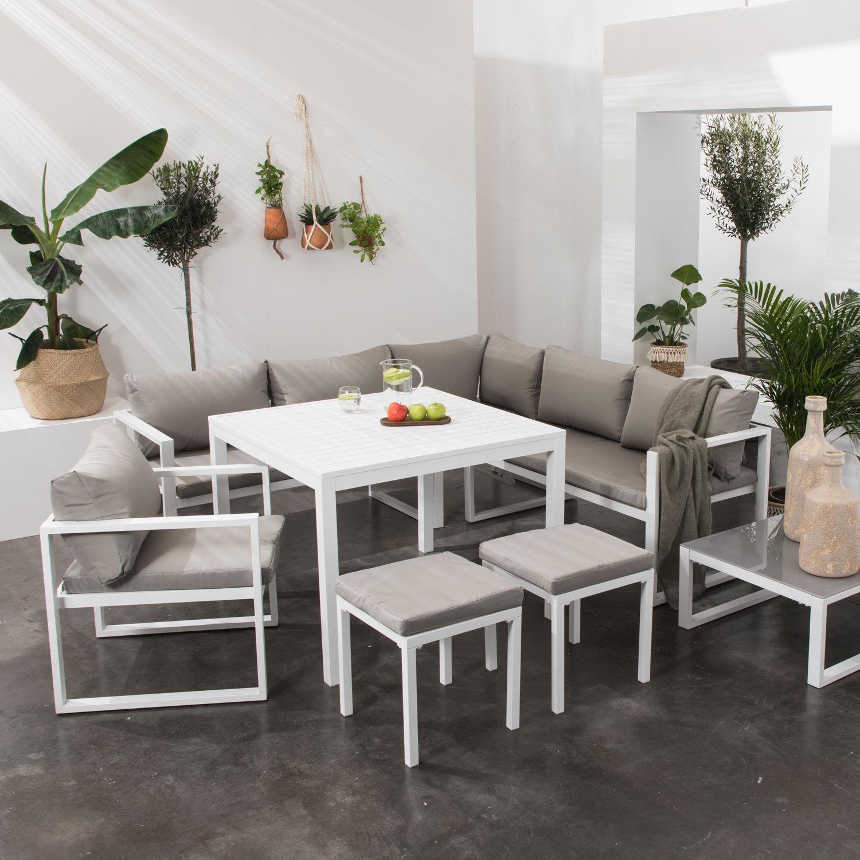 Happy Garden Salon de jardin modulable IBIZA en tissu gris 7 places - aluminium blanc