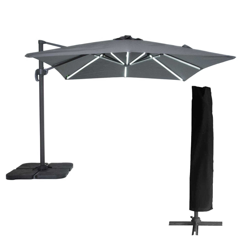 Happy Garden Parasol déporté MOLOKAI carré LED 3x3m gris + housse