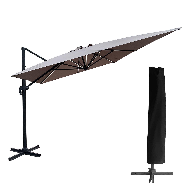 Happy Garden Parasol déporté MOLOKAI rectangulaire LED 3x4m taupe + housse