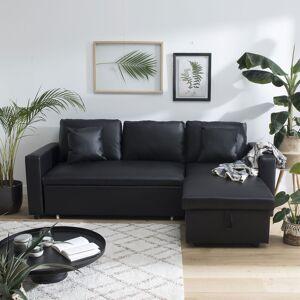Happy Garden Canapé d'angle convertible simili CLARK 3 places noir - Publicité