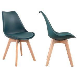 Happy Garden Lot de 4 chaises scandinaves NORA bleues avec coussin - Publicité