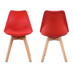 Happy Garden Lot de 4 chaises scandinaves NORA rouge avec coussin - Publicité