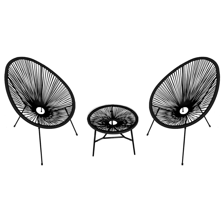 Happy Garden Ensemble de 2 fauteuils œuf + table ACAPULCO noir