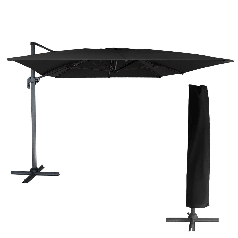 Happy Garden Parasol déporté MOLOKAI rectangulaire 3x4m noir + housse