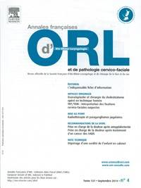 Annales françaises d'oto-laryngologie et de pathologie cervico-faciale - Abonnement 12 mois
