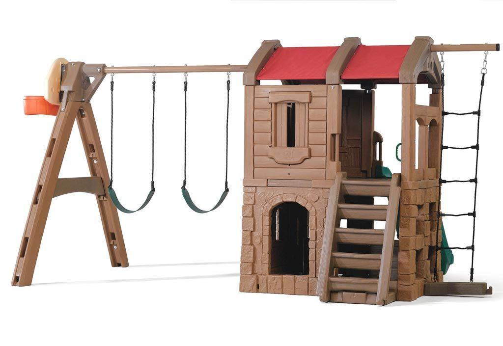 Step2 Portique Aire de Jeux Playcastle : Toboggan, Balançoires et Cabane