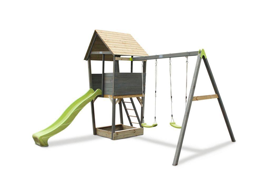 Exit Toys Portique Aire de Jeux Balançoires + Toboggan