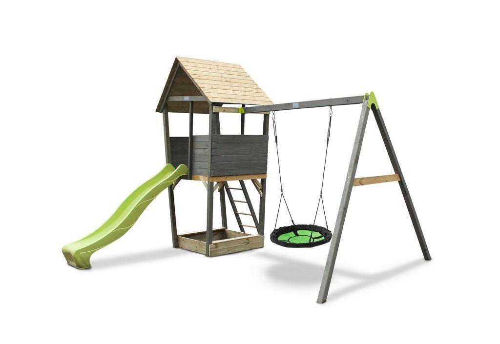 Exit Toys Portique Aire de Jeux Nid d'Oiseau + Toboggan