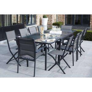 Wilsa Salon de Jardin Modulo : Table Extensible + 4 Fauteuils + 4 chaises Gris - Publicité