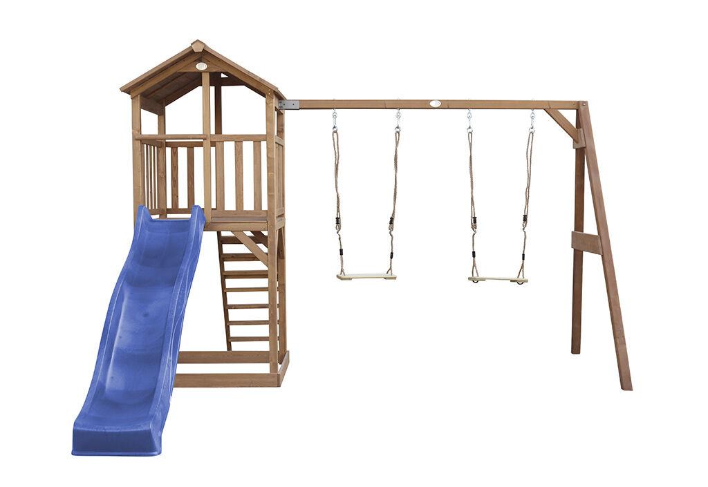 Axi Aire de jeux en bois : toboggan et portique 2 balançoires Beach Tower