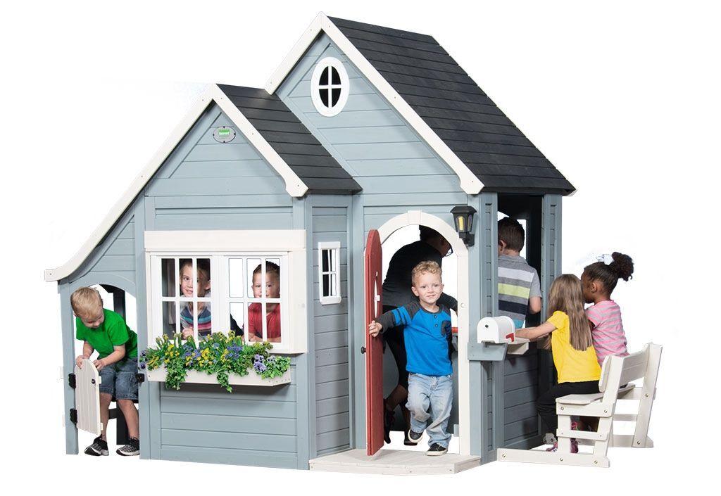 Backyard Discovery Cabane en Bois Maison d'Enfants de Jardin Equipée Spring Cottage