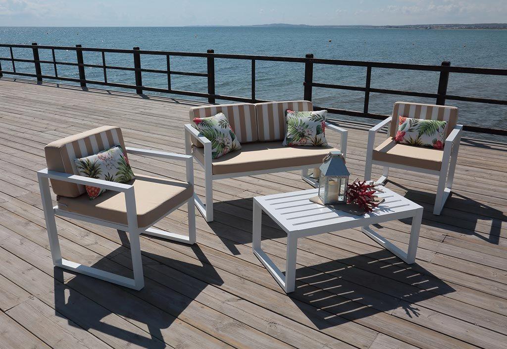 Hevea Salon de jardin en aluminium : 1 canapé, 2 fauteuils et 1 table basse