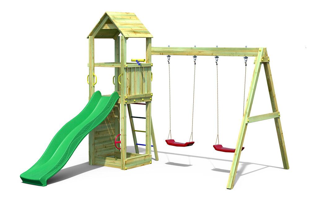 Fungoo. Aire de Jeux avec Portique en Bois de Pin Traité 2 Balançoires Flappi