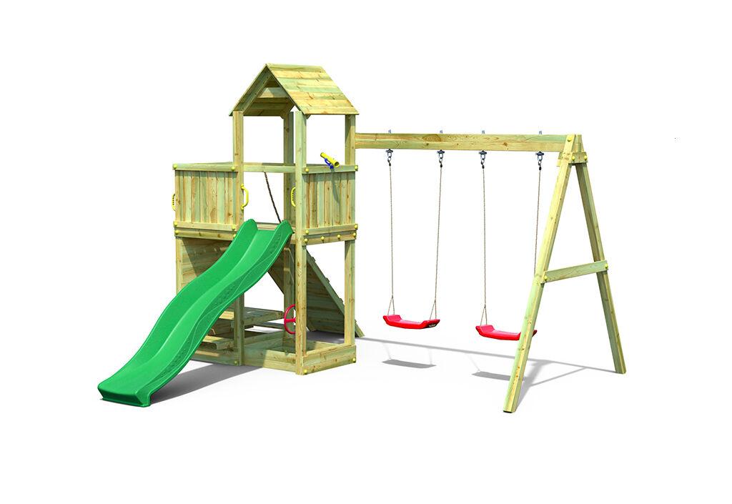 Fungoo. Aire de Jeux avec Portique en Bois de Pin Traité 2 Balançoires Floppi