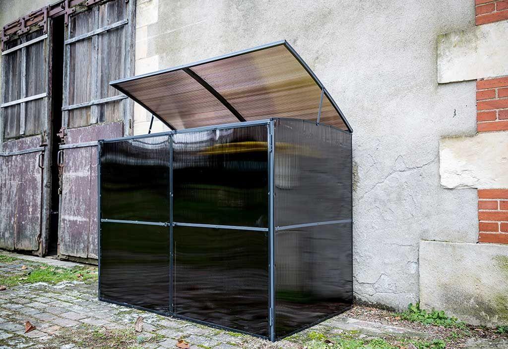 Habrita Cache-Poubelle Double en Polycarbonate Translucide 1,60 m