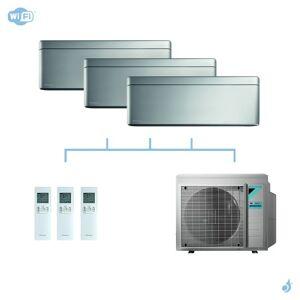 DAIKIN climatisation tri split mural gaz R32 Stylish Silver 5,2kW WiFi CTXA15AS + FTXA25AS + FTXA50AS + 3MXM52N A+++