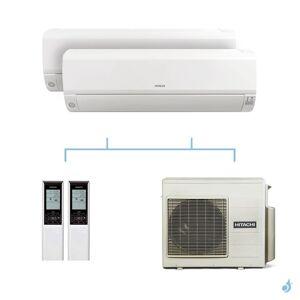 HITACHI climatisation bi split murale Mokai gaz R32 RAK-42RPE + RAK-50RPE + RAM-53NP3E 5,3kW A+++