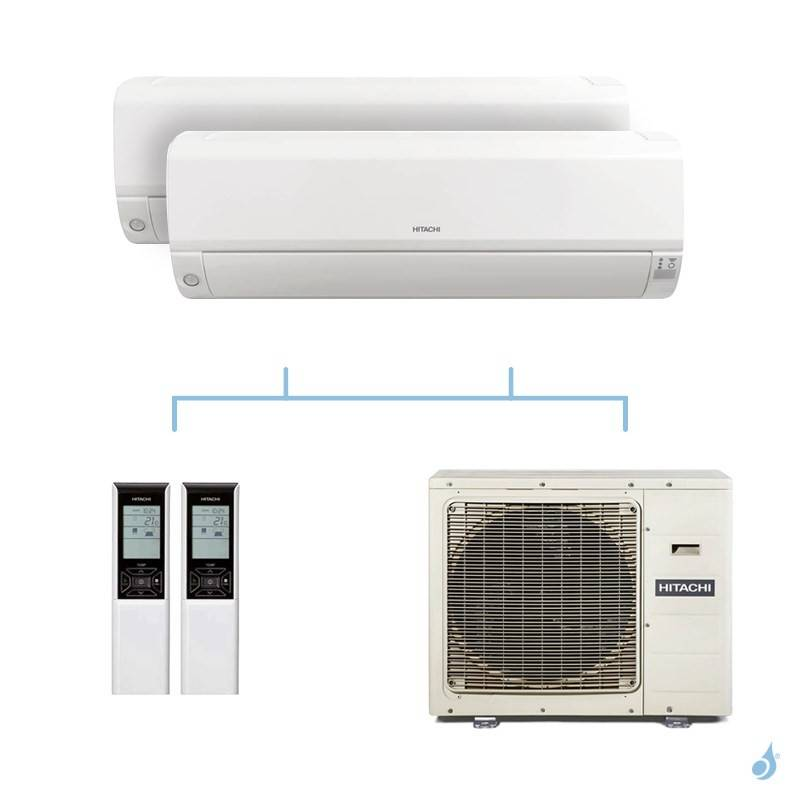 HITACHI climatisation bi split murale Mokai gaz R32 RAK-42RPE + RAK-50RPE + RAM-90NP5E 8,5kW A++