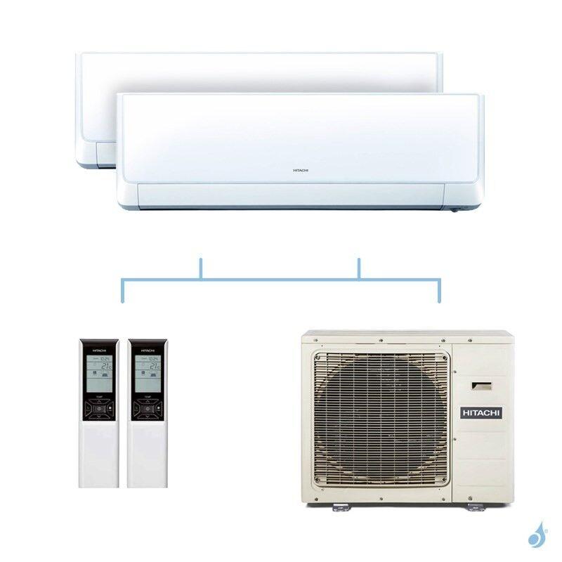 HITACHI climatisation bi split murale Takai gaz R32 RAK-25RXE + RAK-25RXE + RAM-90NP5E 8,5kW A++