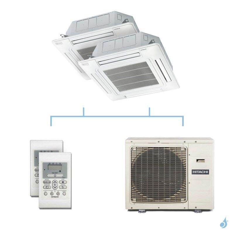 HITACHI climatisation bi split cassette 600x600 gaz R32 RAI-35RPE + RAI-35RPE + RAM-90NP5E 8,5kW A++