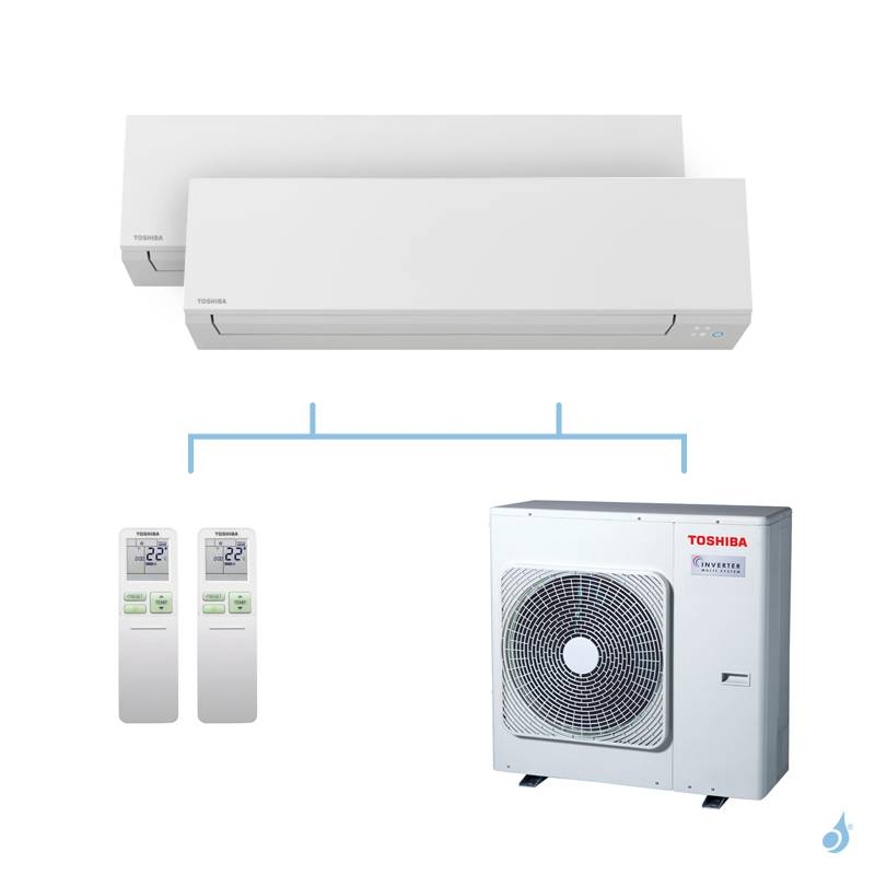 TOSHIBA climatisation bi split mural Shorai Edge + R32 10kW RAS-B13J2KVSG-E + RAS-B13J2KVSG-E + RAS-5M34U2AVG-E A++